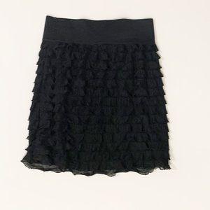 Express black ruffled tiered mini skirt xs